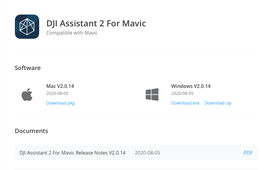 You will need to download DJI Assistant 2 For Mavic onto your computer to complete this update